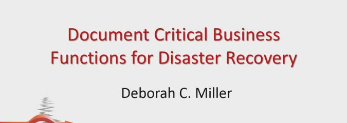 Document Your Critical Business Functions For Disaster Recovery